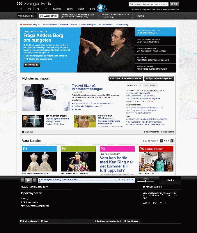 Nya förstasidan med webradio